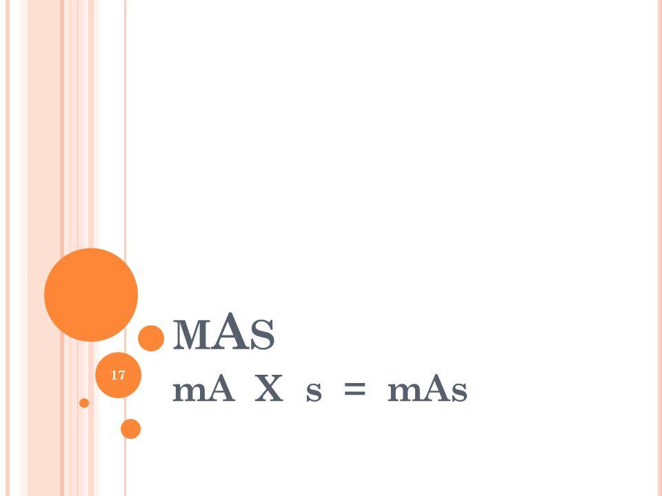MASMAS mA X s = mAs 17