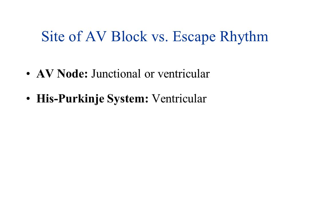 Site of AV Block vs.