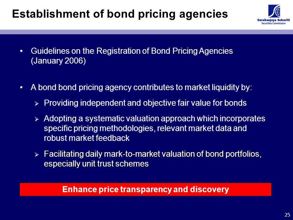 25 Establishment of bond pricing agencies Guidelines on the Registration of Bond Pricing Agencies (January 2006) A bond bond pricing agency contribute