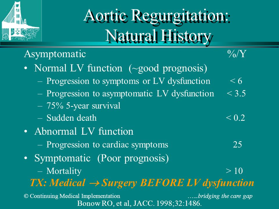 © Continuing Medical Implementation …...bridging the care gap Aortic Regurgitation: Natural History Asymptomatic %/Y Normal LV function (~good prognosis) –Progression to symptoms or LV dysfunction < 6 –Progression to asymptomatic LV dysfunction < 3.5 –75% 5-year survival –Sudden death < 0.2 Abnormal LV function –Progression to cardiac symptoms 25 Symptomatic (Poor prognosis) –Mortality > 10 Bonow RO, et al, JACC.