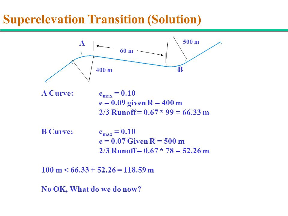400 m 500 m 60 m A B A Curve:e max = 0.10 e = 0.09 given R = 400 m 2/3 Runoff = 0.67 * 99 = 66.33 m B Curve:e max = 0.10 e = 0.07 Given R = 500 m 2/3 Runoff = 0.67 * 78 = 52.26 m 100 m < 66.33 + 52.26 = 118.59 m No OK, What do we do now.