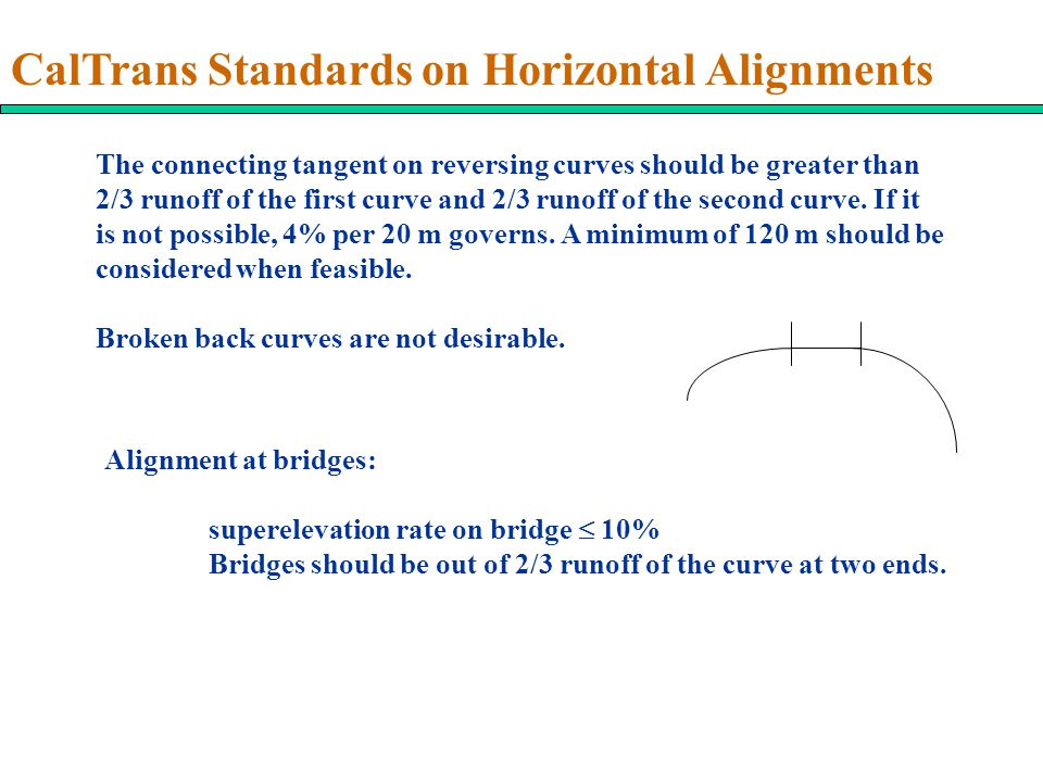 CalTrans Standards on Horizontal Alignments The connecting tangent on reversing curves should be greater than 2/3 runoff of the first curve and 2/3 runoff of the second curve.