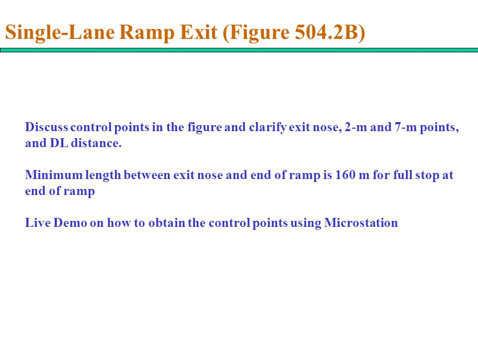 Discuss control points in the figure and clarify exit nose, 2-m and 7-m points, and DL distance.