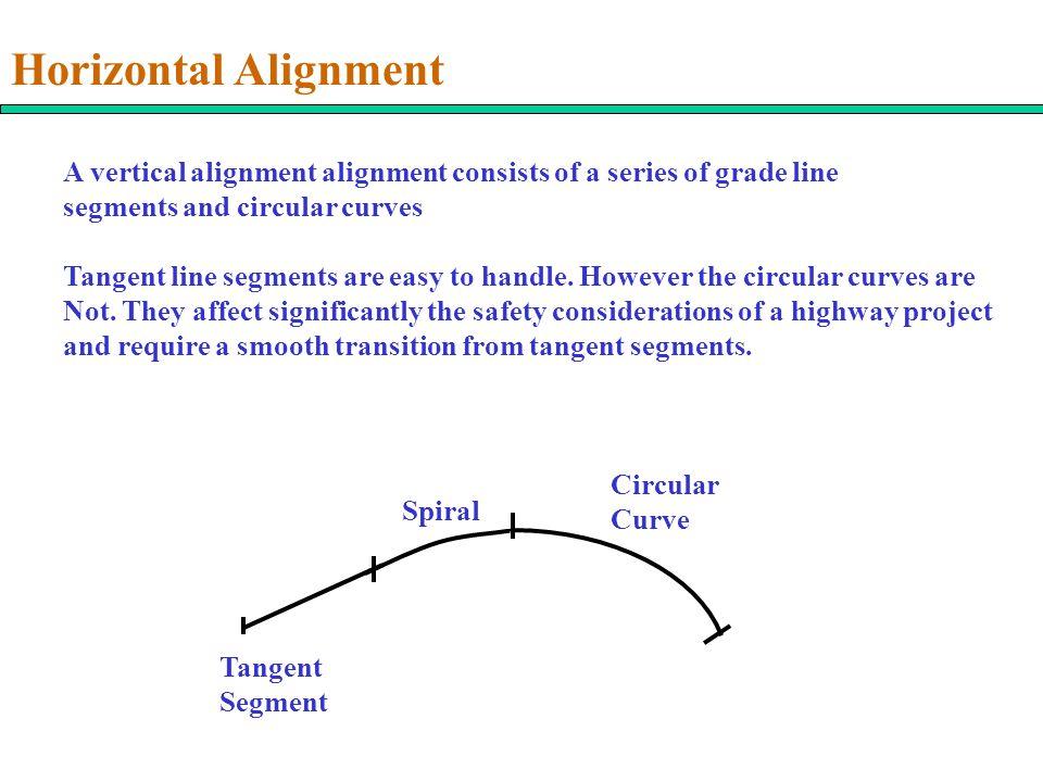 Horizontal Alignment Tangent Segment Spiral Circular Curve A vertical alignment alignment consists of a series of grade line segments and circular cur