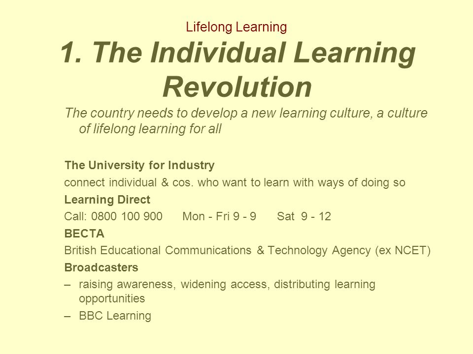 Lifelong Learning Library & Learning Resources: issues and opportunities Expansion and diversity Inclusive learning –Share good practice –internal partnerships –staff development ILT/ Communications Technology –flexibility of access + learner choice –assistive technology for inclusive learning –coping with expansion + distributing and sharing access to resources Professional skills, competences and culture –learning & learner support skills –the fit with the skills of others –a professional culture of collaboration, co-operation and partnership