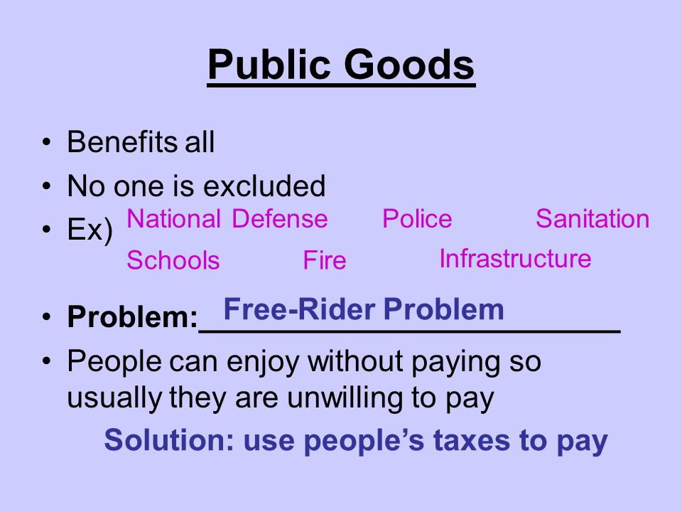 Public Goods Benefits all No one is excluded Ex) Problem:_________________________ People can enjoy without paying so usually they are unwilling to pay National Defense SchoolsFire Police Infrastructure Sanitation Free-Rider Problem Solution: use people's taxes to pay