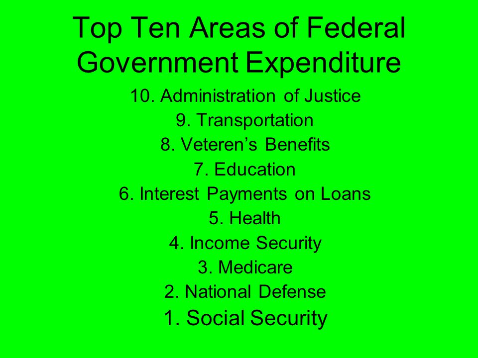 10. Administration of Justice 9. Transportation 8.