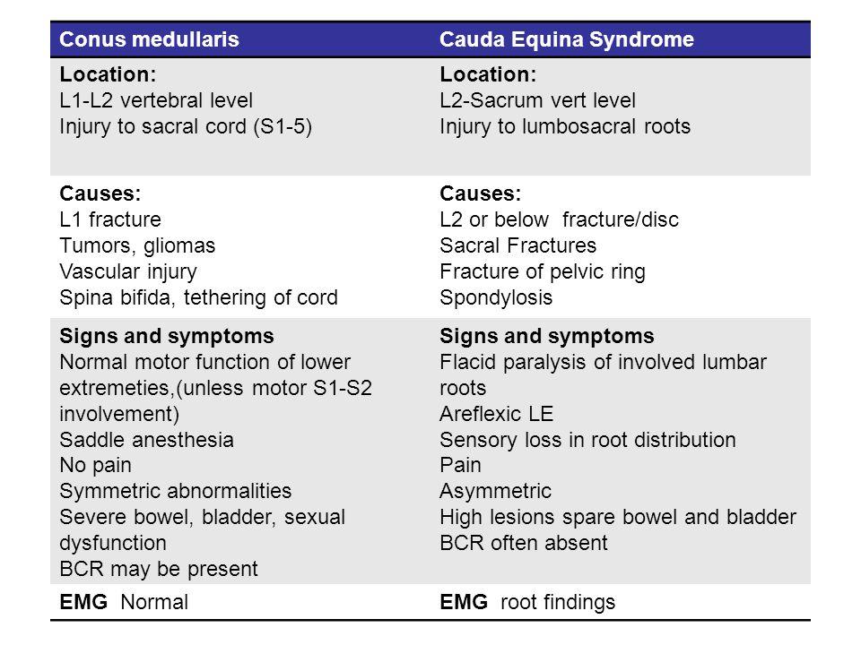Conus medullarisCauda Equina Syndrome Location: L1-L2 vertebral level Injury to sacral cord (S1-5) Location: L2-Sacrum vert level Injury to lumbosacra