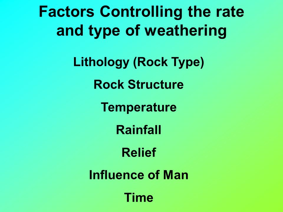 Factors Controlling the rate and type of weathering Lithology (Rock Type) Rock Structure Temperature Rainfall Relief Influence of Man Time