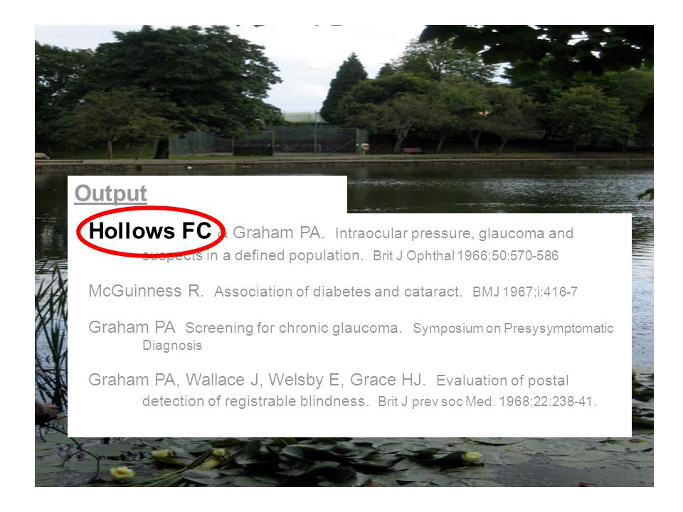 Output Hollows FC & Graham PA. Intraocular pressure, glaucoma and suspects in a defined population.