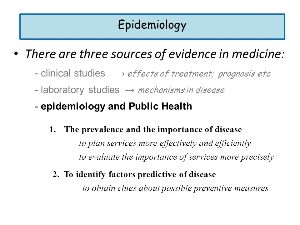 There are three sources of evidence in medicine: - epidemiology and Public Health - laboratory studies - clinical studies → effects of treatment; prog