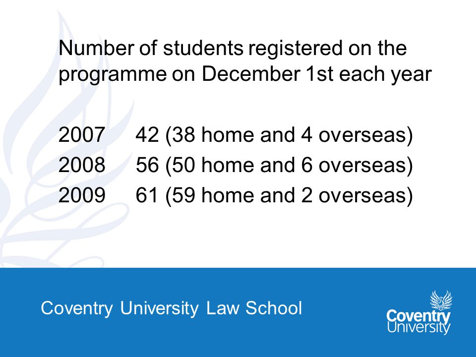 Coventry University Law School Teaching Methodology -Classes not to exceed 30 -One group lecture and one workshop -Lecturers get to know students and monitor attendance.