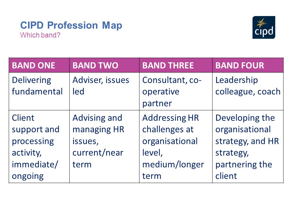 BAND ONEBAND TWOBAND THREEBAND FOUR Delivering fundamental Adviser, issues led Consultant, co- operative partner Leadership colleague, coach Client su