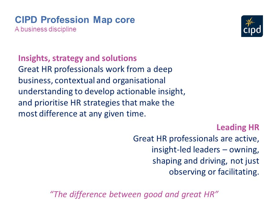 Insights, strategy and solutions Great HR professionals work from a deep business, contextual and organisational understanding to develop actionable i