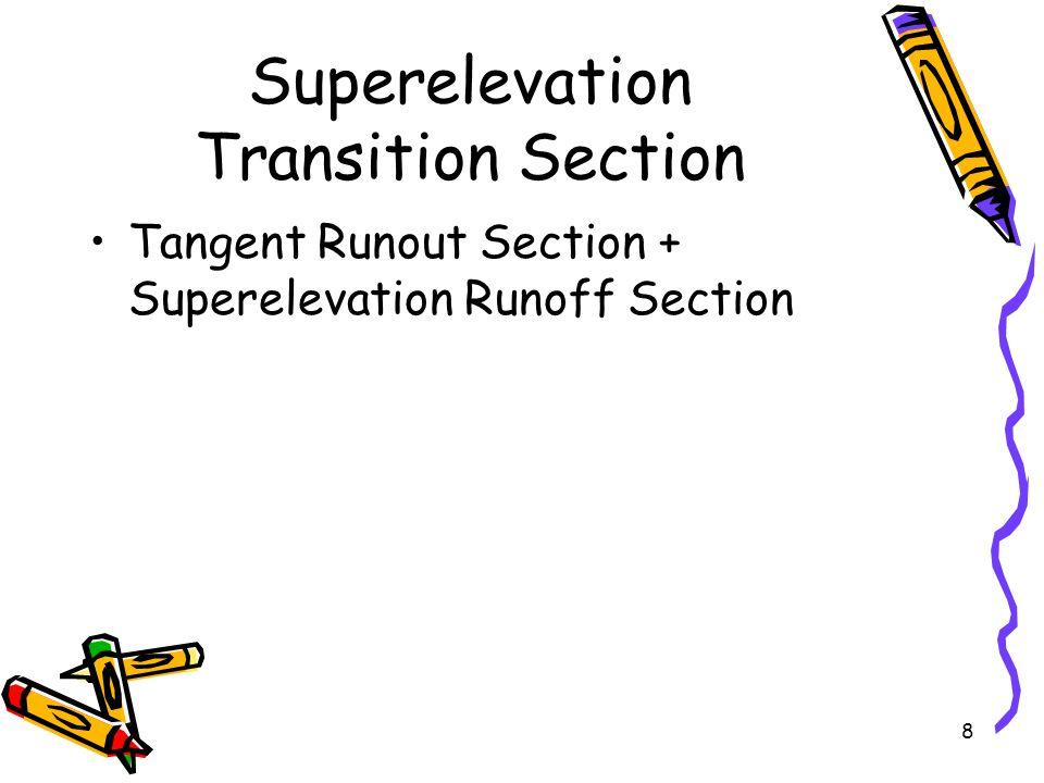 8 Superelevation Transition Section Tangent Runout Section + Superelevation Runoff Section