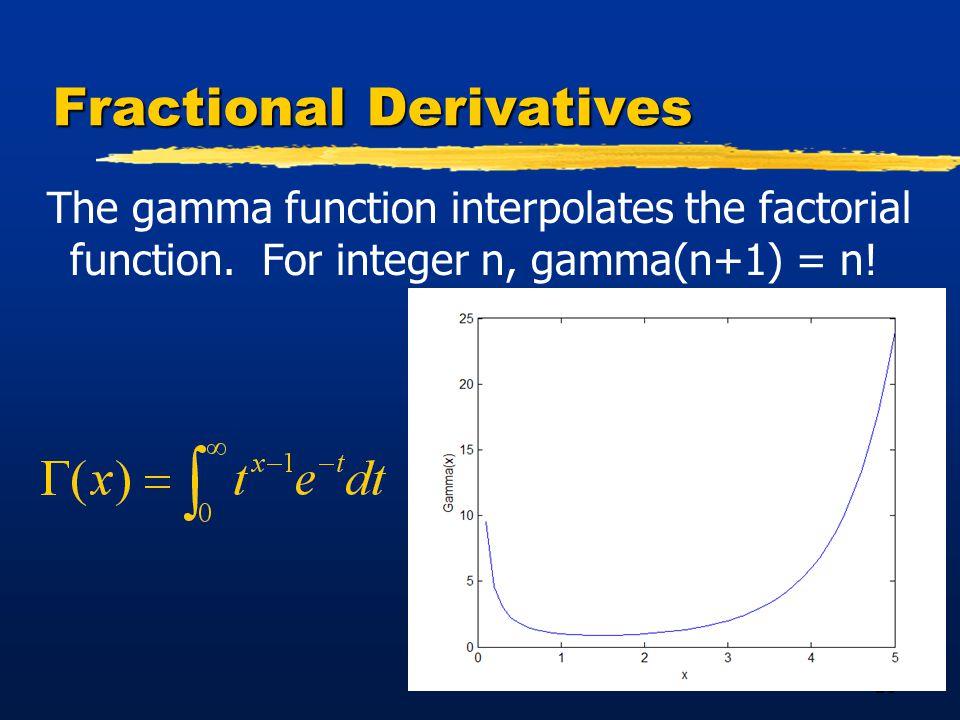 26 Fractional Derivatives The gamma function interpolates the factorial function.