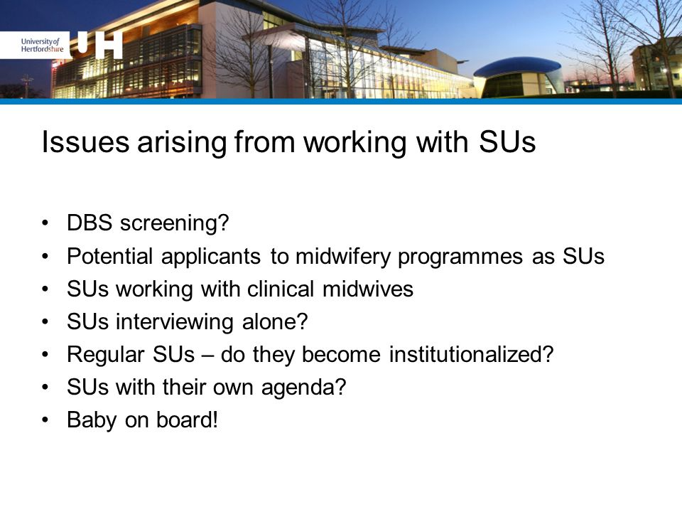 Issues arising from working with SUs DBS screening? Potential applicants to midwifery programmes as SUs SUs working with clinical midwives SUs intervi
