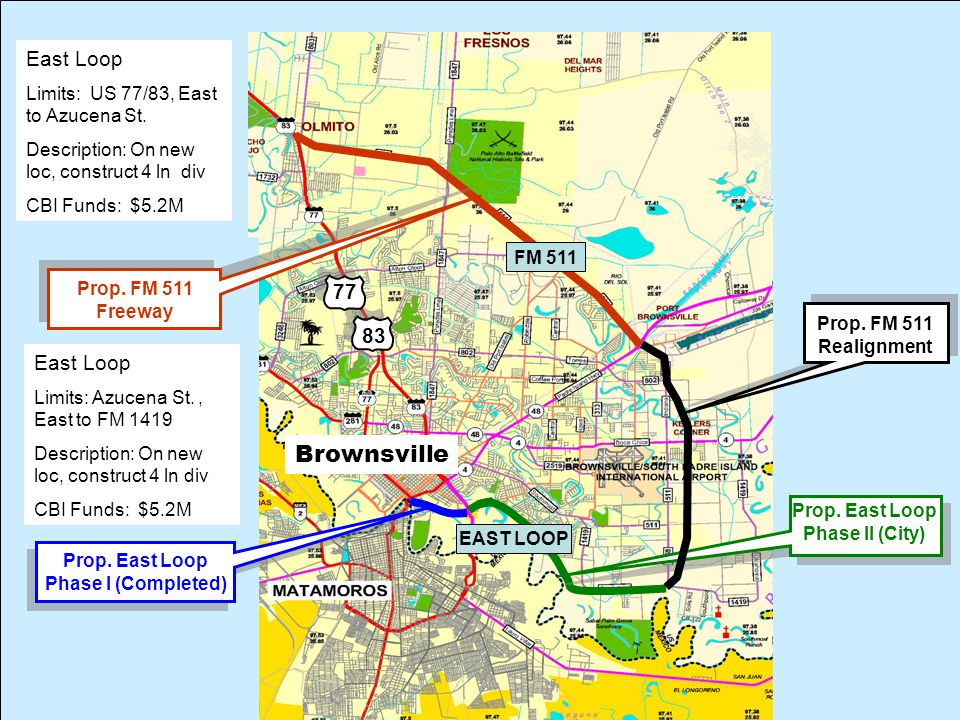 Prop. East Loop Phase II (City) Prop. East Loop Phase I (Completed) Prop.