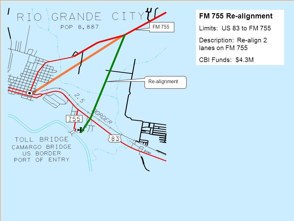 FM 755 Re-alignment FM 755 Re-alignment Limits: US 83 to FM 755 Description: Re-align 2 lanes on FM 755 CBI Funds: $4.3M