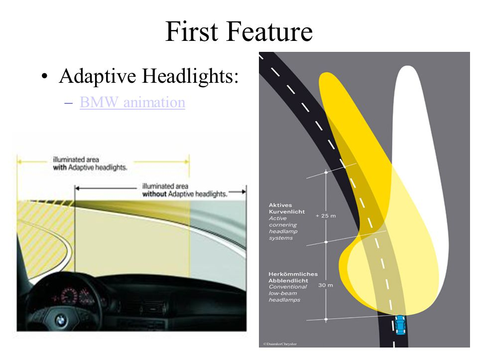 First Feature Adaptive Headlights: –BMW animationBMW animation