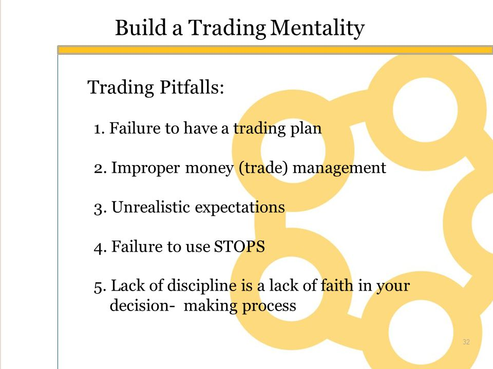 Build a Trading Mentality Trading Pitfalls: 1. Failure to have a trading plan 2.