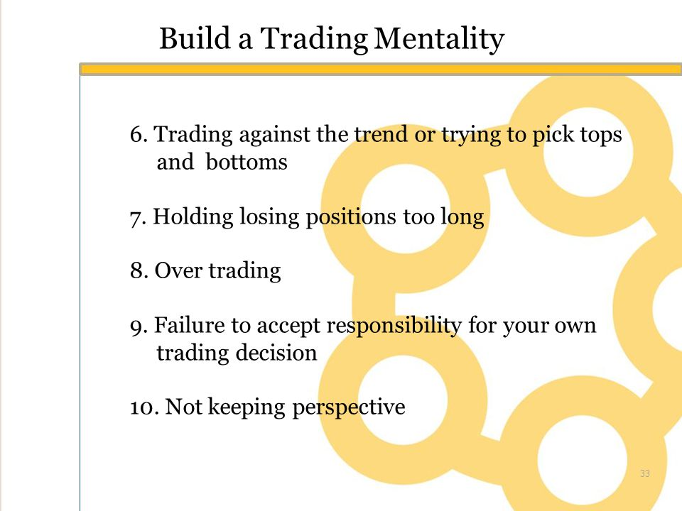 Build a Trading Mentality 6. Trading against the trend or trying to pick tops and bottoms 7.