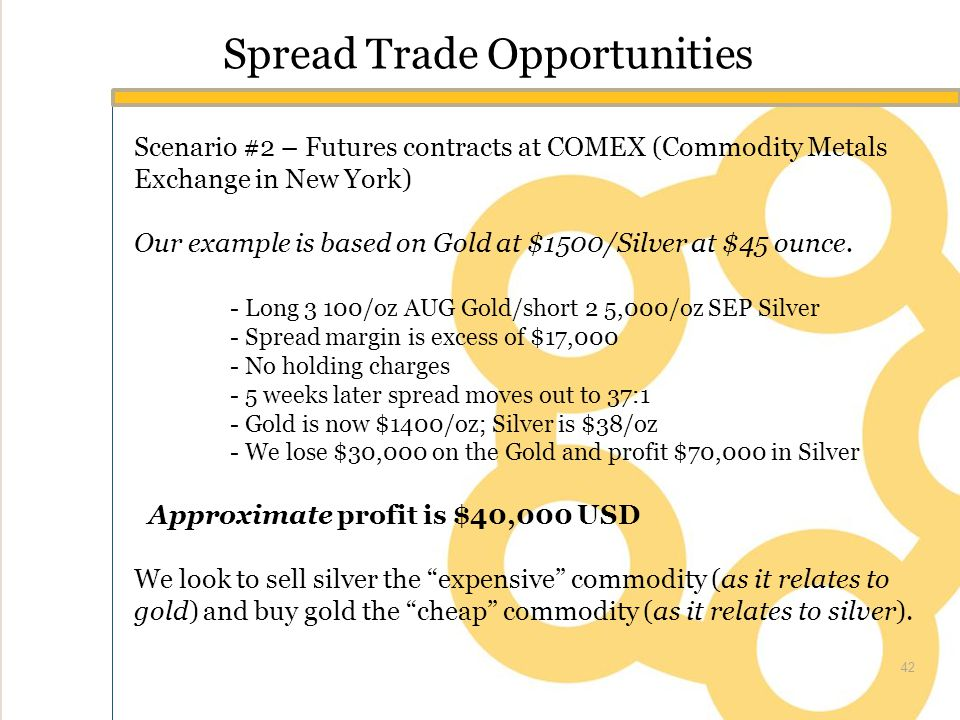 Spread Trade Opportunities Scenario #2 – Futures contracts at COMEX (Commodity Metals Exchange in New York) Our example is based on Gold at $1500/Silver at $45 ounce.
