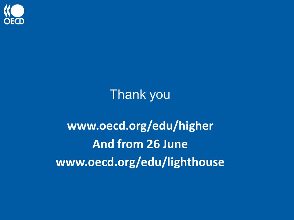 Thank you www.oecd.org/edu/higher And from 26 June www.oecd.org/edu/lighthouse