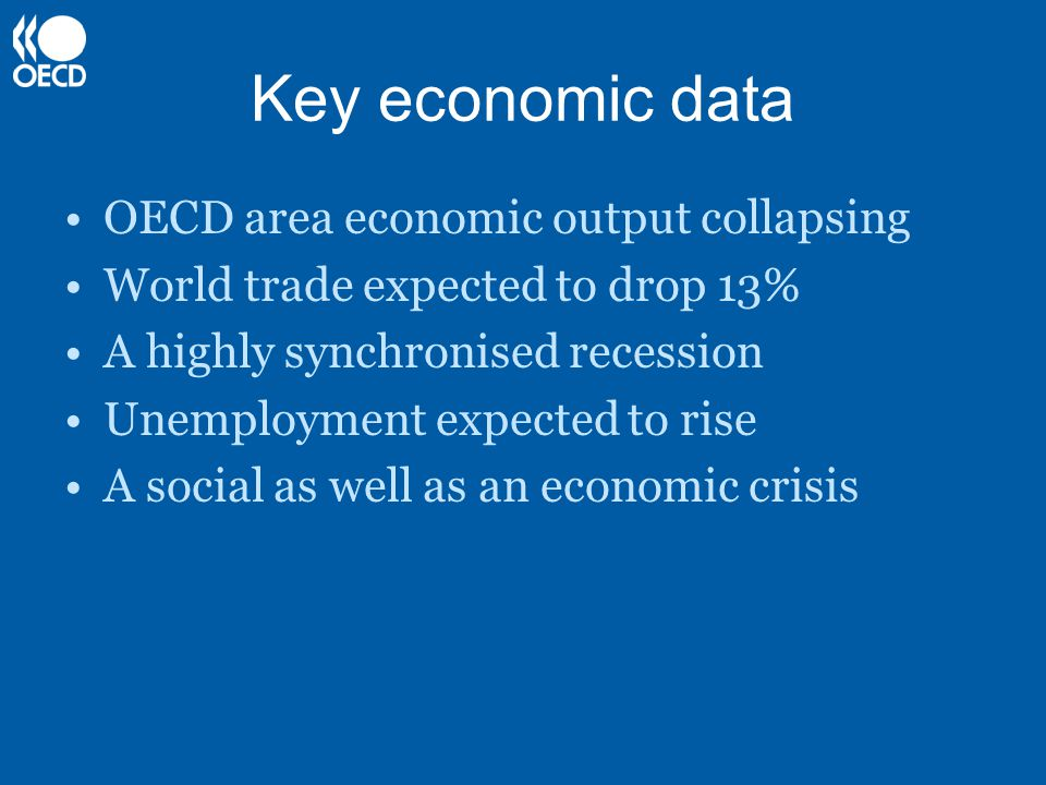 Key economic data OECD area economic output collapsing World trade expected to drop 13% A highly synchronised recession Unemployment expected to rise A social as well as an economic crisis