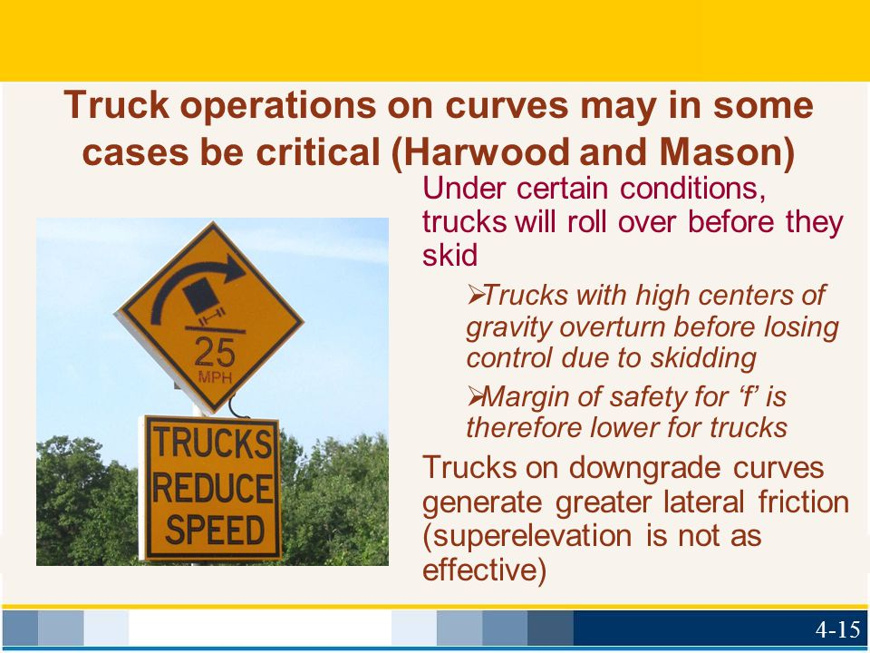 Truck operations on curves may in some cases be critical (Harwood and Mason) Under certain conditions, trucks will roll over before they skid  Trucks
