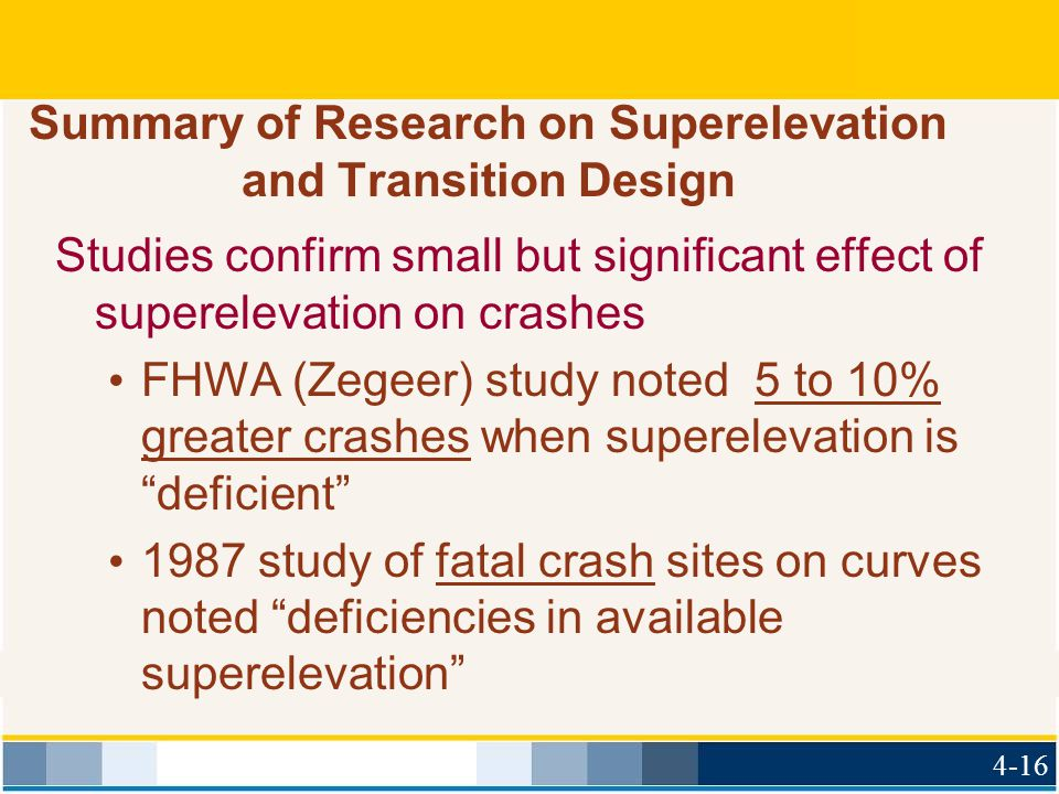 Summary of Research on Superelevation and Transition Design Studies confirm small but significant effect of superelevation on crashes FHWA (Zegeer) st
