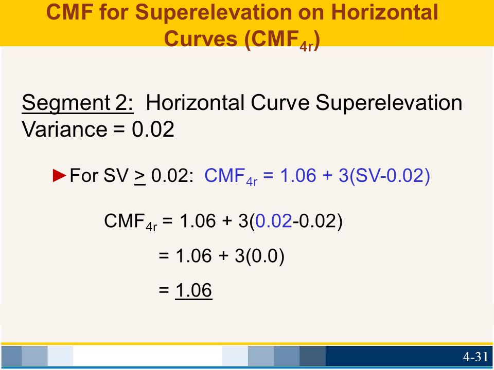 CMF for Superelevation on Horizontal Curves (CMF 4r ) CMF 4r = 1.06 + 3(0.02-0.02) = 1.06 + 3(0.0) = 1.06 ►For SV > 0.02: CMF 4r = 1.06 + 3(SV-0.02) S