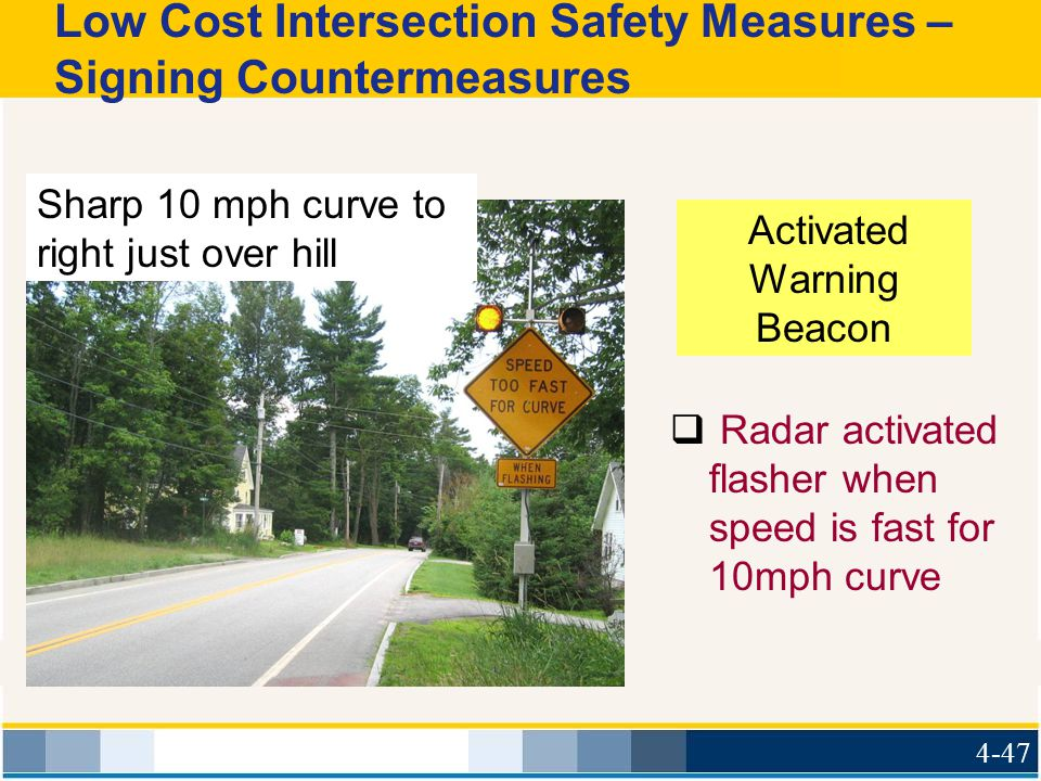 Low Cost Intersection Safety Measures – Signing Countermeasures  Radar activated flasher when speed is fast for 10mph curve Sharp 10 mph curve to rig