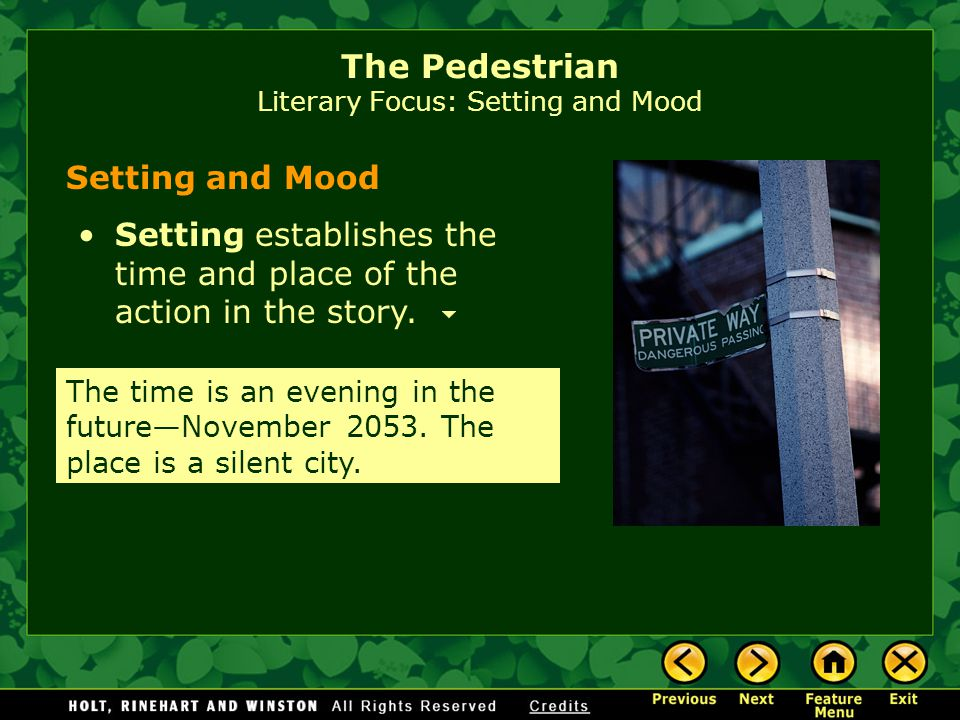 The Pedestrian is a chilling portrayal of a society in which people are so isolated in their homes that a lone pedestrian is seen as a threat to the social order.