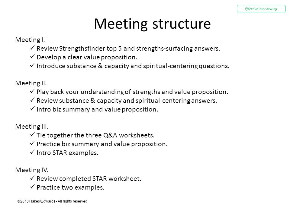 ©2010 Hakes/Edwards - All rights reserved Meeting structure Meeting I. Review Strengthsfinder top 5 and strengths-surfacing answers. Develop a clear v