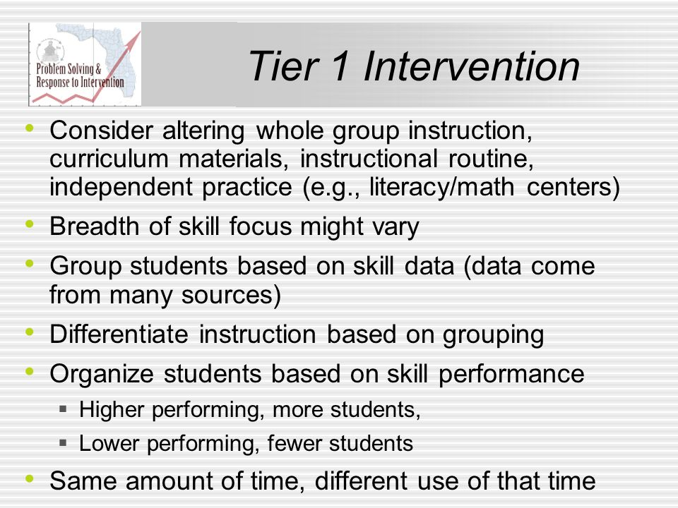 Tier 1 Intervention Consider altering whole group instruction, curriculum materials, instructional routine, independent practice (e.g., literacy/math centers) Breadth of skill focus might vary Group students based on skill data (data come from many sources) Differentiate instruction based on grouping Organize students based on skill performance  Higher performing, more students,  Lower performing, fewer students Same amount of time, different use of that time