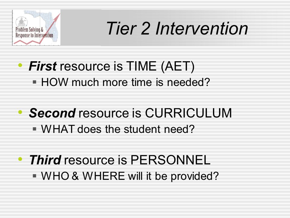 Tier 2 Intervention First resource is TIME (AET)  HOW much more time is needed.