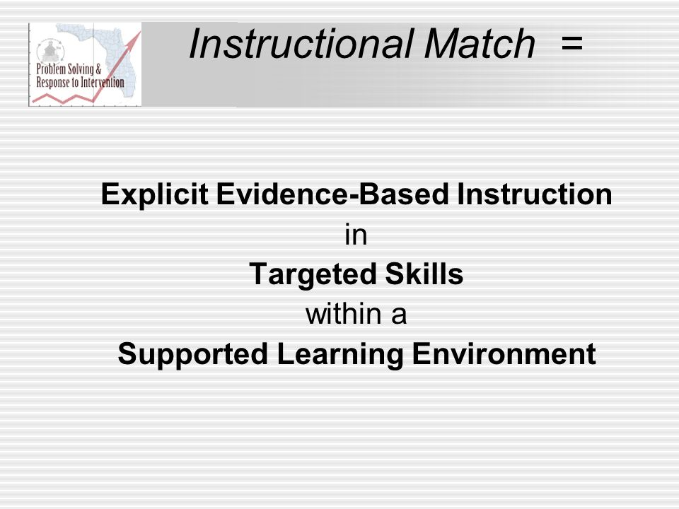 Instructional Match = Explicit Evidence-Based Instruction in Targeted Skills within a Supported Learning Environment