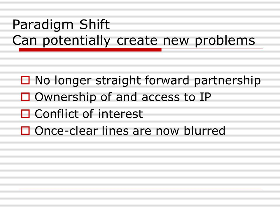 Paradigm Shift Can potentially create new problems  No longer straight forward partnership  Ownership of and access to IP  Conflict of interest  Once-clear lines are now blurred