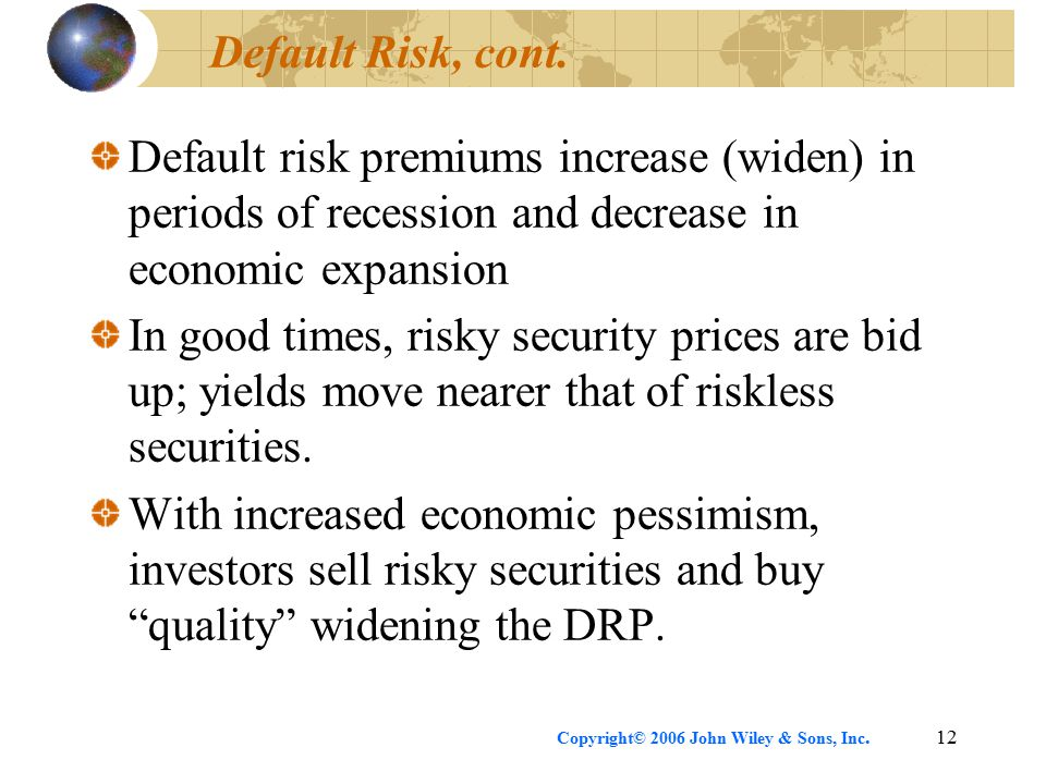 Copyright© 2006 John Wiley & Sons, Inc.12 Default Risk, cont.