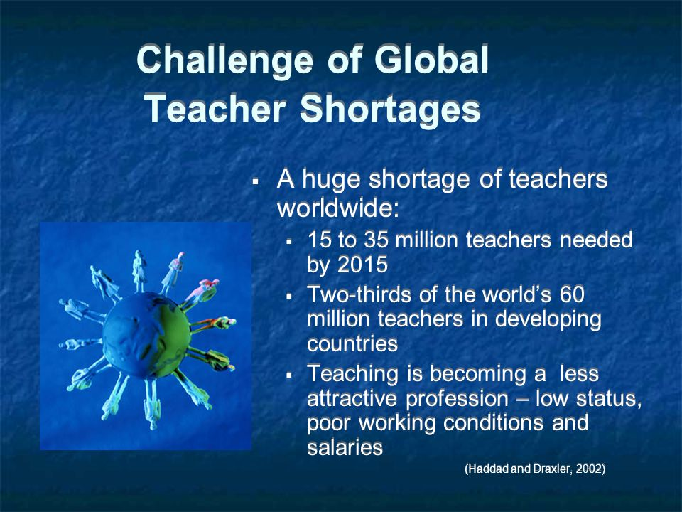 Challenge of Global Teacher Shortages  A huge shortage of teachers worldwide:  15 to 35 million teachers needed by 2015  Two-thirds of the world's