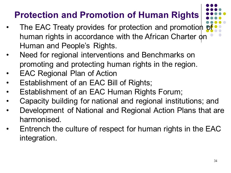 Protection and Promotion of Human Rights 34 The EAC Treaty provides for protection and promotion of human rights in accordance with the African Charte