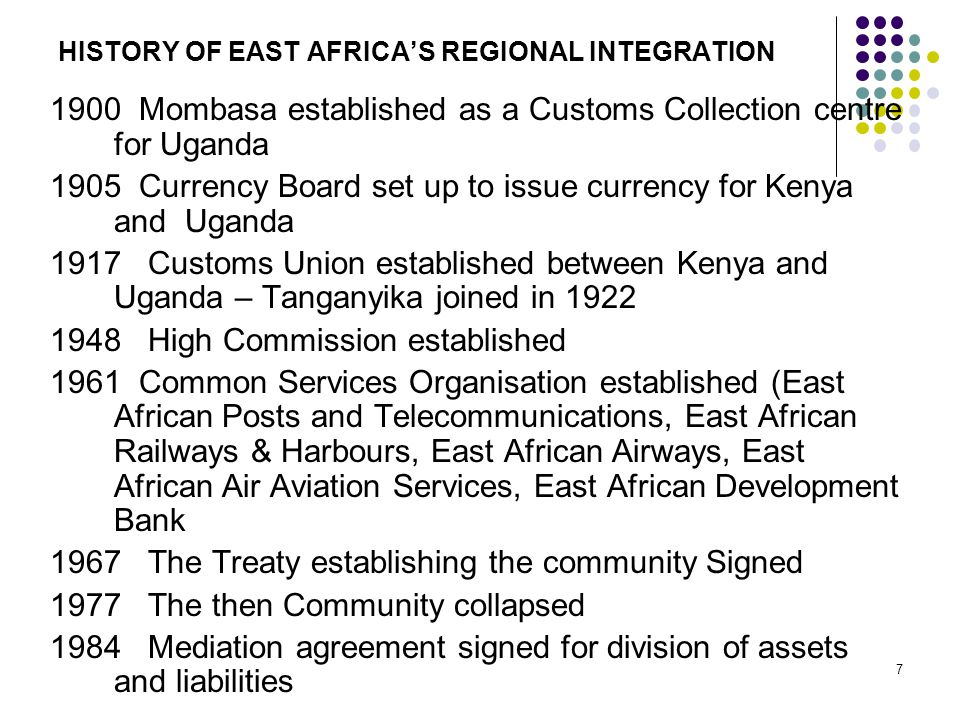HISTORY OF EAST AFRICA'S REGIONAL INTEGRATION 1900 Mombasa established as a Customs Collection centre for Uganda 1905 Currency Board set up to issue c