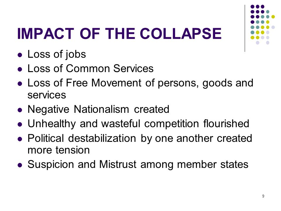IMPACT OF THE COLLAPSE Loss of jobs Loss of Common Services Loss of Free Movement of persons, goods and services Negative Nationalism created Unhealth