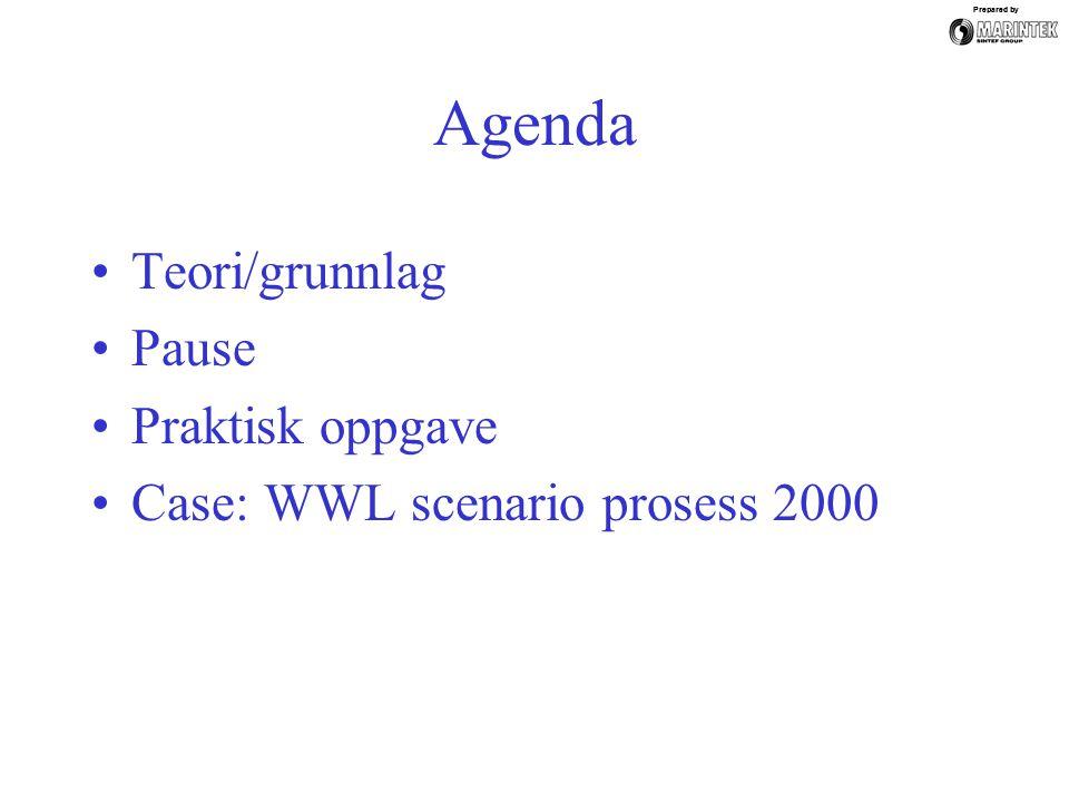 Prepared by Agenda Teori/grunnlag Pause Praktisk oppgave Case: WWL scenario prosess 2000 Prepared by