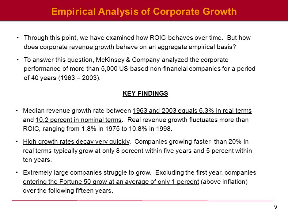 9 Empirical Analysis of Corporate Growth KEY FINDINGS Through this point, we have examined how ROIC behaves over time.