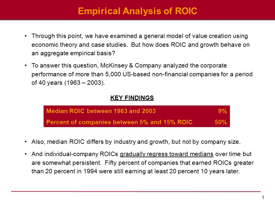 1 Empirical Analysis of ROIC Through this point, we have examined a general model of value creation using economic theory and case studies.