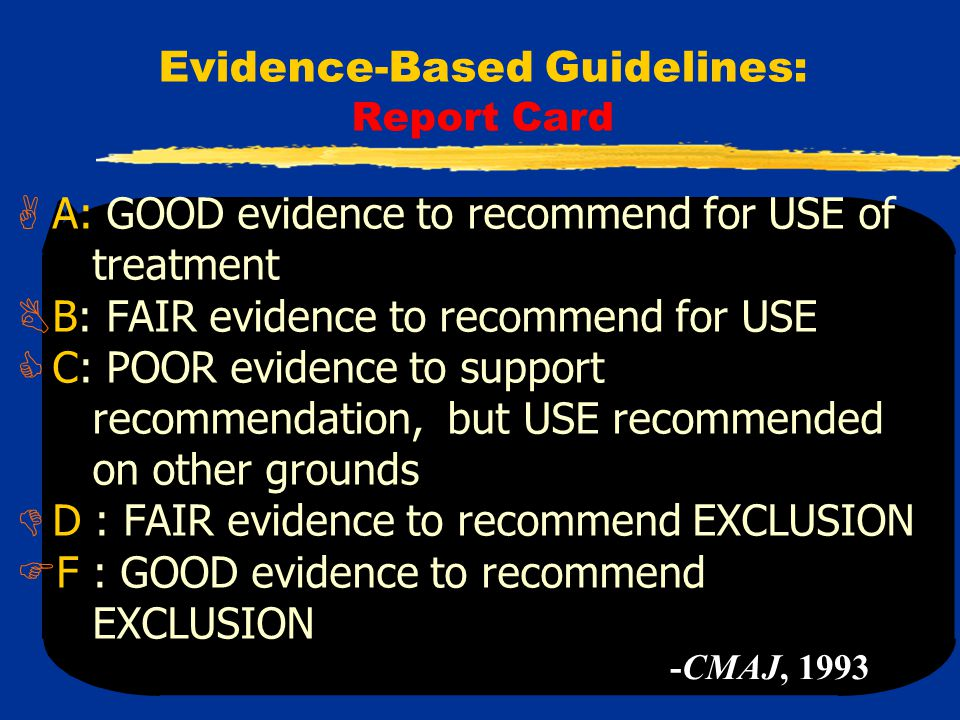 Evidence-Based Guidelines: Report Card  A: GOOD evidence to recommend for USE of treatment  B: FAIR evidence to recommend for USE  C: POOR evidence to support recommendation, but USE recommended on other grounds  D : FAIR evidence to recommend EXCLUSION  F : GOOD evidence to recommend EXCLUSION -CMAJ, 1993