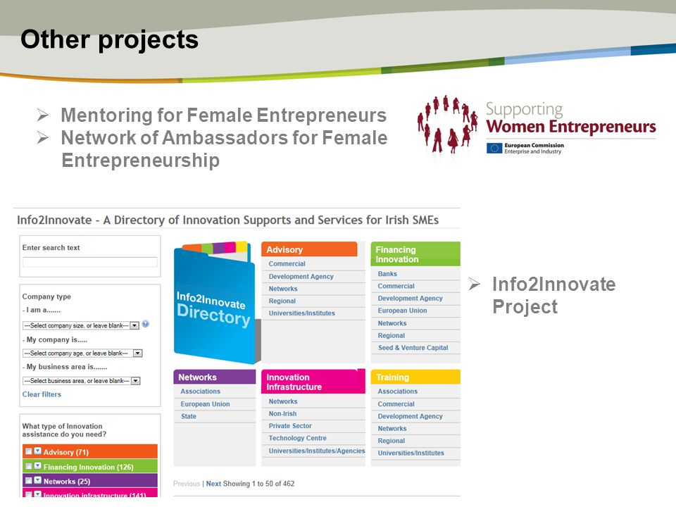 Other projects  Mentoring for Female Entrepreneurs  Network of Ambassadors for Female Entrepreneurship  Info2Innovate Project