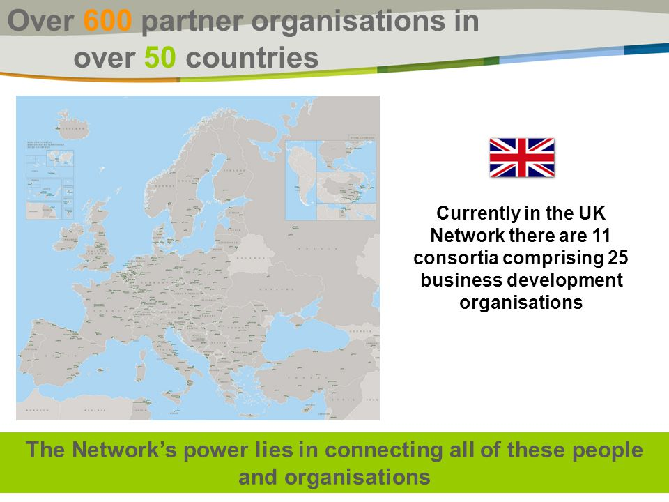 Over 600 partner organisations in over 50 countries The Network's power lies in connecting all of these people and organisations Currently in the UK Network there are 11 consortia comprising 25 business development organisations